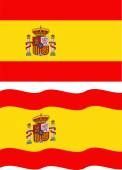 Flat and waving Spanish Flag. Vector — Stock Vector