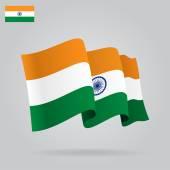 Plochý a mává indická vlajka. vektor — Stock vektor
