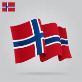 Flat and waving Norwegian Flag. Vector — Vecteur