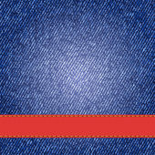 Denim texture with label ribbon. Vector — 图库矢量图片
