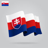 Flat and waving Slovak Flag. Vector — Stock Vector