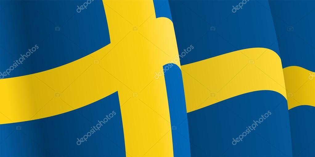 与挥舞着瑞典国旗背景.矢量图– 图库插图