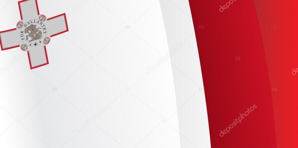挥舞马耳他国旗背景.矢量图– 图库插图