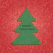 Jeans background leather Christmas tree. Vector — Stockvector