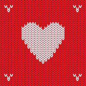 Christmas Knitted background with heart. Vector — Stock Vector