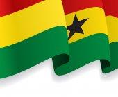 Background with waving Ghana Flag. Vector — Stock Vector