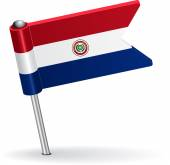Paraguayan pin icon flag. Vector illustration — Stock Vector
