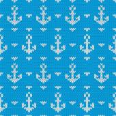 Seamless knitted pattern with anchors. Vector illustration — Stock vektor