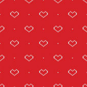 Seamless knitted pattern with hearts. Vector illustration — Stock Vector