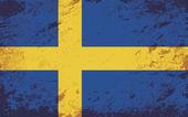 Swedish flag. Grunge background. Vector illustration — ストックベクタ
