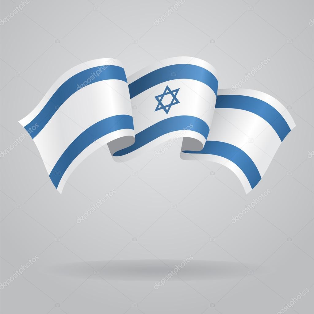 以色列那飘扬的旗帜.矢量图