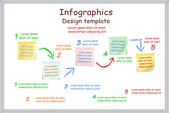 Infographic report template with board and stickers. Vector — Stockvector