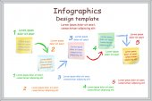 Infographic report template with board and stickers. Vector — Vector de stock