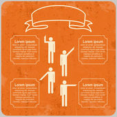 Infographic template with Pointing hands and text. Vector — Cтоковый вектор