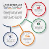 Infographic report template with lines and icons. Vector — Stock Vector