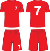 Set of soccer uniform front and back view. Vector — Stock Vector
