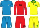 Set of different soccer uniform. Vector — Stock Vector