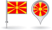 Macedonian pin icon and map pointer flag. Vector — Stock Vector