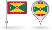 Grenada pin icon and map pointer flag. Vector — Stock Vector
