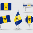 Set of Barbados pin, icon and map pointer flags. Vector — Stock Vector #74740345