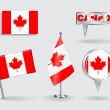 Set of Canadian pin, icon and map pointer flags. Vector — Stock Vector #74787871