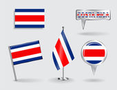 Set of Costa Rican pin, icon and map pointer flags. Vector — Stock Vector
