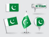 Set of Pakistani pin, icon and map pointer flags. Vector — Vector de stock