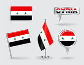 Set of Syrian pin, icon and map pointer flags. Vector — Stock Vector