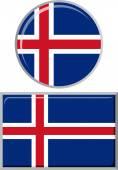 アイスランドの丸形と角形のアイコンのフラグです。ベクトル図. — ストックベクタ