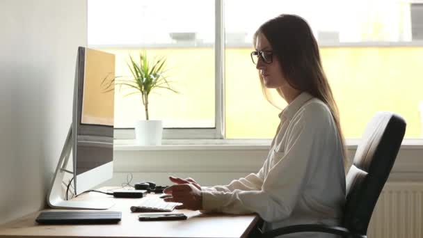 Stupendous Young Woman At Work Home Office Situation Stock Video Largest Home Design Picture Inspirations Pitcheantrous