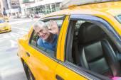 Senior Man Taking a Cab in New York — Stock Photo