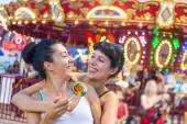 Happy Young Women at Luna Park — Stock Photo