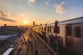 Subway Train in New York at Sunset — Stock Photo