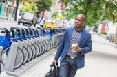 Young Man Commuting in New York — Stock Photo