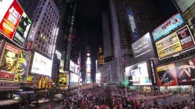 Times square à noite, nova iorque — Vídeo Stock