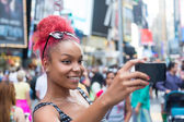 Beautiful Young Woman Taking Selfie in Times Square — Stock Photo