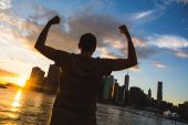 Successful Man in New York at Sunset — Stock Photo