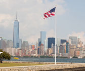 United States Flag with New York — Stock Photo