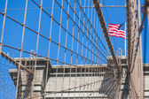 United States Flag on Brooklyn Bridge — Stock Photo