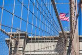 United States Flag on Brooklyn Bridge — Stok fotoğraf