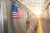 United States Flag on a Subway Train — Stok fotoğraf