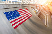United States Flag on a Subway Train — Stock Photo