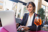 Young Businesswoman with Laptop during a Break — Stock Photo