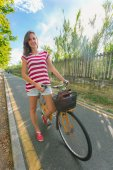Young Woman Going by Bike, Sustainable Commuting — Stok fotoğraf