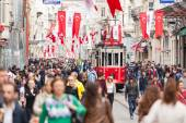 Crowded Istiklal street — Stock Photo