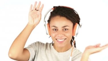 Happy Young Woman Listening Music with Headphones — Stock Video
