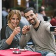 Turkish Couple Taking Selfie while Drinking Cay, Traditional Tea — Stock Photo #57457861