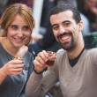 Turkish Couple Taking Selfie while Drinking Cay, Traditional Tea — Stock Photo #57457869