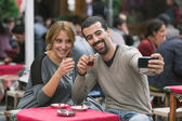 Turkish Couple Taking Selfie while Drinking Cay, Traditional Tea — Stock Photo