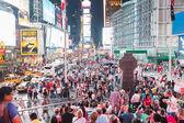NEW YORK, USA - SEPTEMBER 4, 2014: Times Square crowded of touri — Stock Photo